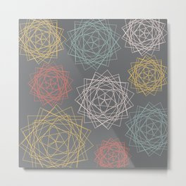 Dark Pastel Origami Blooms Metal Print