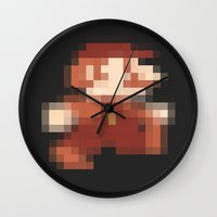 mario Wall Clocks featuring Mario by Richard Howard