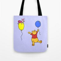 pooh Tote Bags featuring pooh and piglet by BlackBlizzard