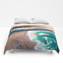 Sky view for the beach in the sunset Comforters