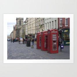 Telephone Booths Royal Mile Edinburgh Art Print