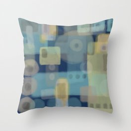 Some of This and That - Dark Blue Abstract Art Throw Pillow
