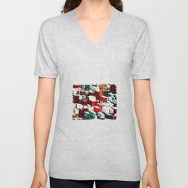 Mint Red Shipping Containers  Unisex V-Neck