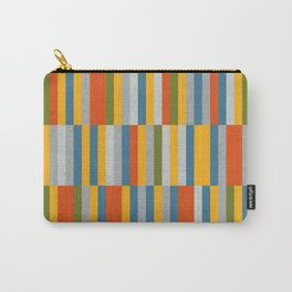 Orange, Green, Blue, Gray / Grey Stripes, Nautical Maritime Carry-All Pouch
