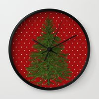 christmas tree Wall Clocks featuring *(Christmas) Tree* by Mr and Mrs Quirynen