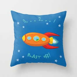 3, 2, 1, Blast Off!  Throw Pillow