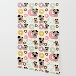 Pug and donuts beige Wallpaper