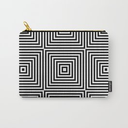 Square Optical Illusion Black And White Carry-All Pouch
