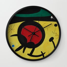 Joan Miro Vol Doiseaux, 1968, Flight of Birds Encircling the 3 Haired Woman on a Moon, Artwork, Prin Wall Clock