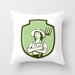 Female Organic Farmer Pitchfork Shield Retro Throw Pillow
