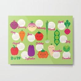 5 A Day Kawaii Vegetables 2019 Calendar Metal Print