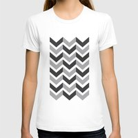 gray pattern T-shirts featuring Gray Chevron Pattern by magnez2