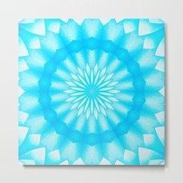Mozaik Mandala Flower (blue) Metal Print