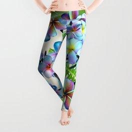 Rainbow Plumeria Pattern Leggings