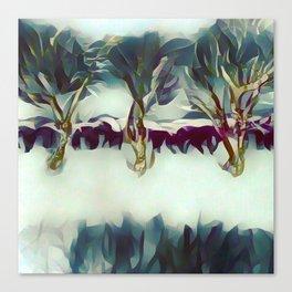 3 Winter Trees Deep Maroon Purple by CheyAnne Sexton Canvas Print