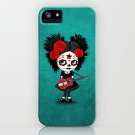 Day of the Dead Girl Playing Latvian Flag Guitar iPhone Case