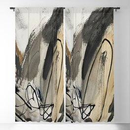 Drift [5]: a neutral abstract mixed media piece in black, white, gray, brown Blackout Curtain