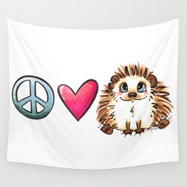 Peace, Love and Hedgehogs Wall Tapestry