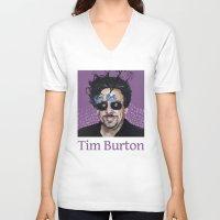 tim burton V-neck T-shirts featuring Tim Burton by Pazu Cheng