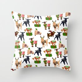 Christmas goats in sweaters repeating seamless pattern Throw Pillow