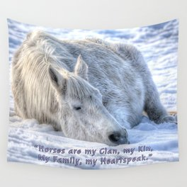 Snow Drifting - Equine Photo and Quote Wall Tapestry