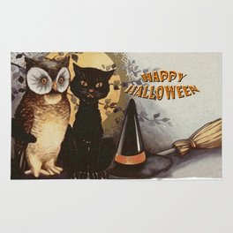 Owl and Cat Halloween Rug