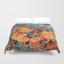 Red Orange Valentine Flowers Duvet Cover