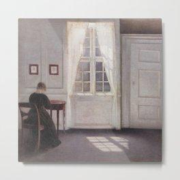 A Room in the Artist's Home by Vilhelm Hammershøi Metal Print