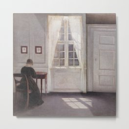 A Room in the Artist's Home by Vilhelm Hammershøi Metal Print