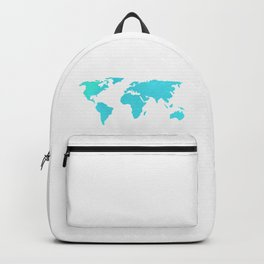 World Map - Turquoise Green Emerald Pool on White Backpack