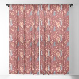 IT'S A CATS' WORLD! Burgundy Red Palette Sheer Curtain