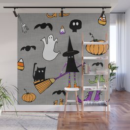 Cute #Halloween Witch and Friends Grey Wall Mural
