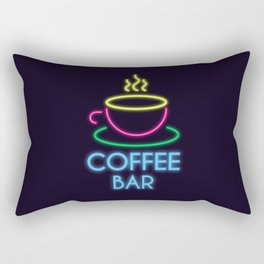 Coffee Bar Neon Rectangular Pillow