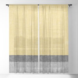 Yellow Grey and Black Section Stripe and Graphic Burlap Print Sheer Curtain