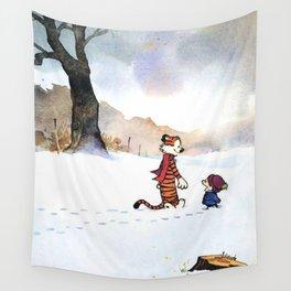 calvin hobbes snow Wall Tapestry
