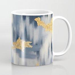 Blue and Gold Ikat Pattern Abstract Coffee Mug