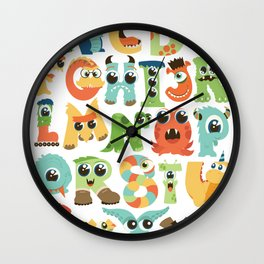 Cute monsters alphabet for boy's room monster alien critters illustrated characters Wall Clock