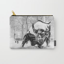The Charging Bull, In the snow. Carry-All Pouch
