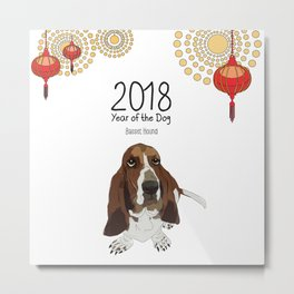 Year of the Dog - Bassett Hound Metal Print