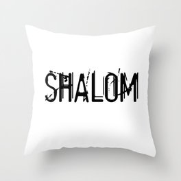 Shalom - Black Throw Pillow