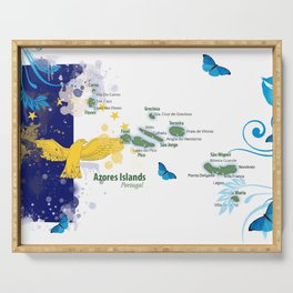 Azores flag art Serving Tray