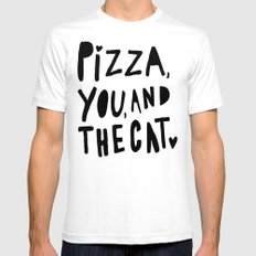 Pizza, You, and the cat - hand lettered art Mens Fitted Tee White SMALL