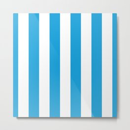 Oktoberfest Bavarian Blue and White Large Cabana Stripes Metal Print