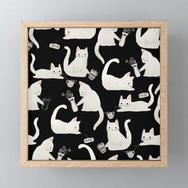 Bad Cats Knocking Things Over, Black & White Framed Mini Art Print