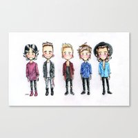 one direction Canvas Prints featuring One direction by levvelli
