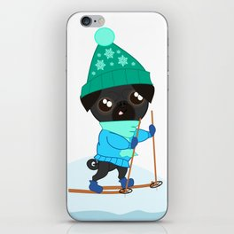 Pug Buddies on a Winter Walk iPhone Skin