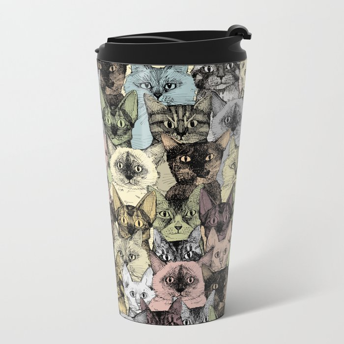 just cats retro Metal Travel Mug
