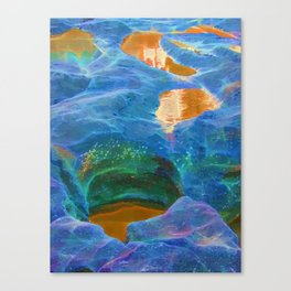 Abstract beautiful rock pools in the late afternoon Canvas Print