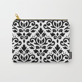 Scroll Damask Large Pattern Black on White Carry-All Pouch