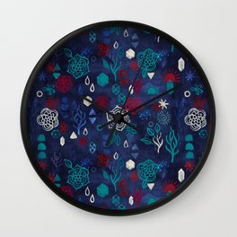 Elements - a watercolor pattern in red, cream & navy blue Wall Clock